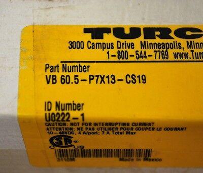 Turck Vb-60.5-p7x13-cs19 Connecting Distributor Id U0222-1 10-48vdc -