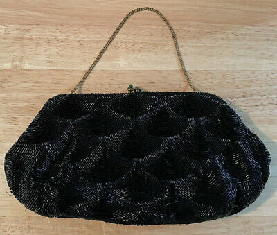 1940s Handbags and Purses History AUTHETIC VINTAGE 1940s JOSEF BEADED BLACK CLUTCH EVENING BAG MADE IN FRANCE $35.99 AT vintagedancer.com