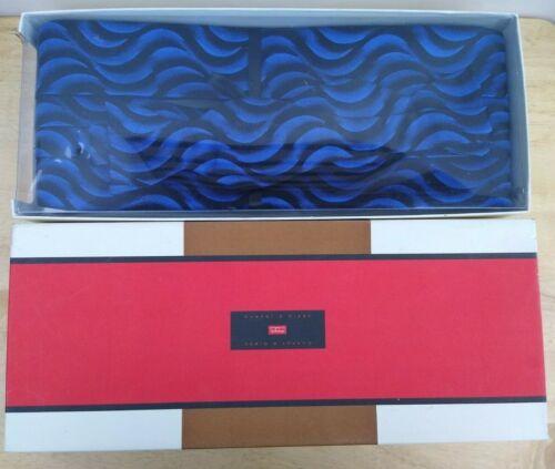 Carrot & Gibbs Pure Silk Bow Tie And Cummerbund Set - Blue / black waves