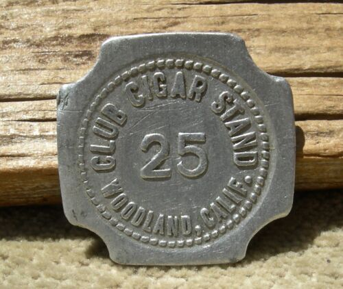"ca 1900s WOODLAND, CALIFORNIA (YOLO CO) SCARCE ""CLUB CIGAR STAND"" SQUARE TOKEN"