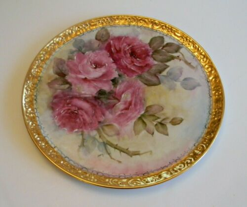 Antique Bareuther Waldsassen Bavaria Germany Handpainted Roses Gold Gilt Charger