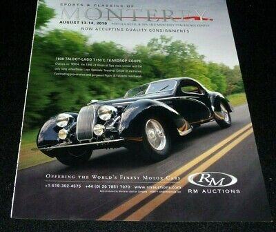 VINTAGE MOTOR CARS AT MONTEREY AUCTION ADVERTISEMENT 2010 -1938 TALBOT-LAGO T150