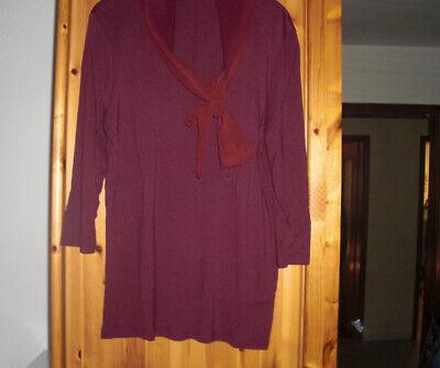 Tom Tailor  Damen Bluse Tunika Shirt Gr.XL BurgunderRot oben Schleifenband