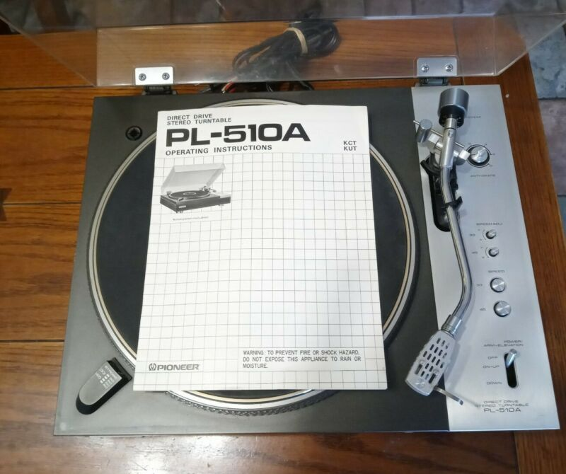 Vintage Pioneer PL510A Stereo Turntable Record Player with orignal owners manual