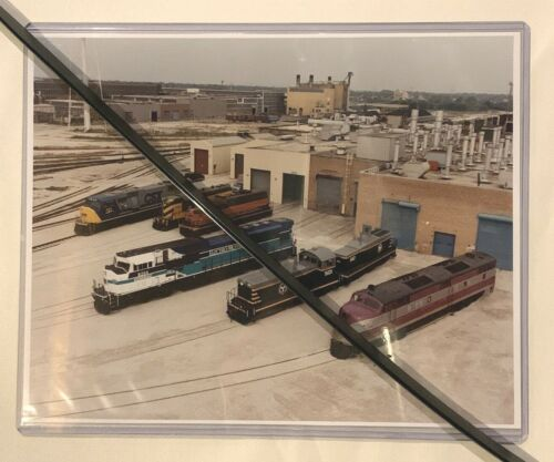 Aerial Shot of 6 EMD Locomotives from an Open House, 8x10 Color Photograph
