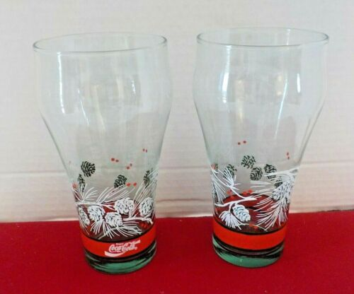 Libby COCA COLA Christmas Pinecone Drinking Glasses Soda Set Of 2 Holiday Winter