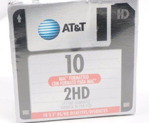 3.5 diskettes AT&T DS/HD Mac Formatted 2HD set of 10 New in Sealed Package