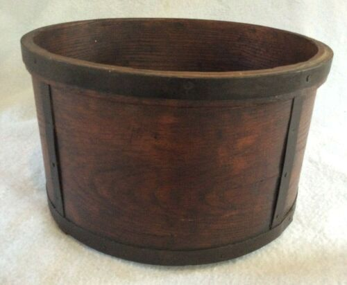 "Antique primitive Metal Banded Dry Measure large 14"" Round Bentwood Pantry Box"