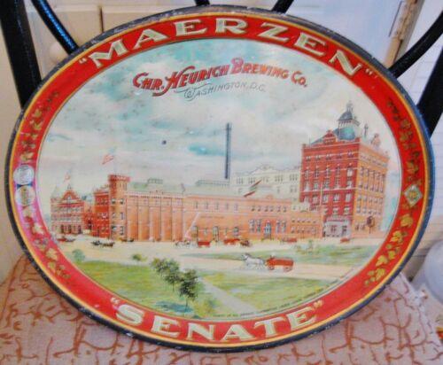 PRE-PRO MAERZEN - SENATE BEER HEURICH BREWING METAL TIN LITHO TRAY WASHINGTON DC