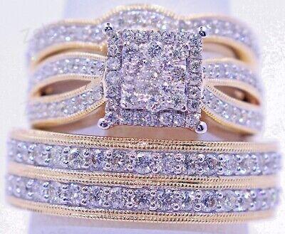Diamond Wedding Band 14K Yellow Gold Fn Trio His Her Engagement Bridal Ring Set Diamond Bridal Band Ring