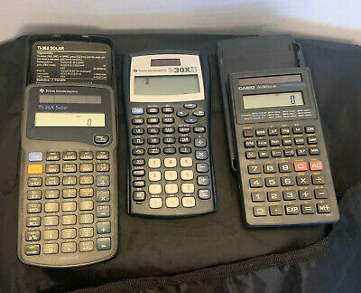 Lot of 3 Calculators Texas Instrument TI-30X IIS Blue TI-36X Casio FX260 solar