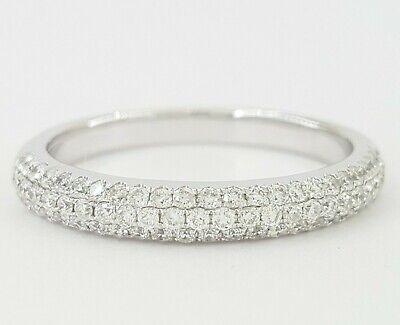 0.4 ct 18K White Gold Round Diamond French Pave Three Row Wedding Band Ring 3 mm