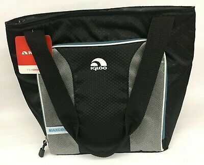 Igloo 16 Can MaxCold Tote Soft Cooler Bag - Black Gray Blue - NWT