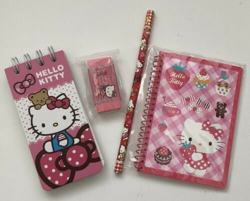 Pre-Owned, Never Used Sanrio Hello Kitty Mini Notebooks, Pencil and Eraser Lot