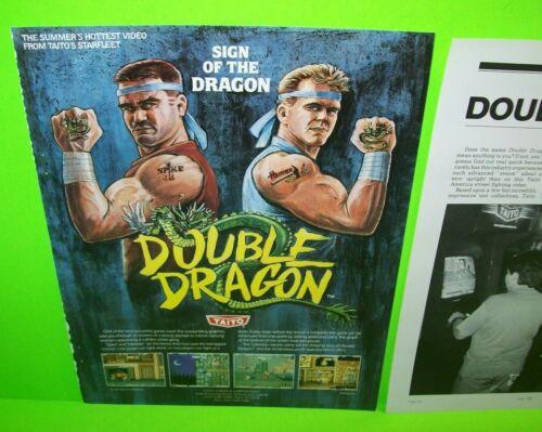 Double Dragon Arcade FLYER 1987 Original Taito Video Game Artwork Promo Sheet