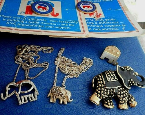 LOT:6 ELEPHANTS-2 STERILNG SILVER PENDANTS/CHAINS-1 BIG BROOCH 3 REPUBLICAN PINS