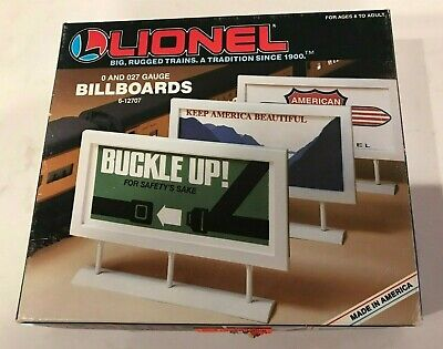 LIONEL 6-12707 SET OF (3) VINTAGE ADVERTISING BILLBOARDS 1:43 Layout Scenery NEW