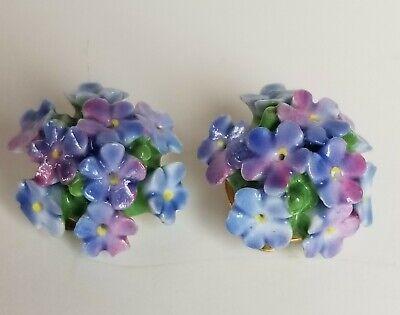 Vintage Porcelain Flower Clip on Earrings Cara China England