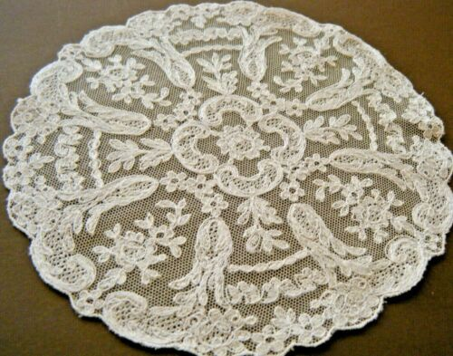 19c Antique doily combo work Alencone lace &Limerick needlerun lace Ireland