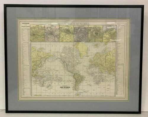 Antique 1899 org CHART OF WORLD ON Mercator
