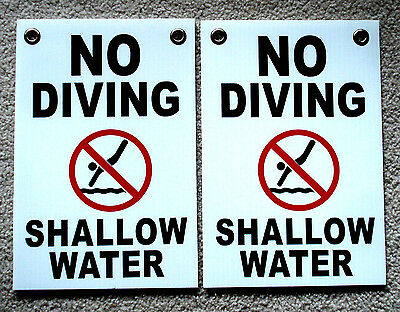 2 No Diving Shallow Water  8 X12 Plastic Coroplast Signs Wgrommets White