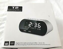 T2 Radio Alarm Clock with Dual USB Charger for iPod/iPhone/iPad