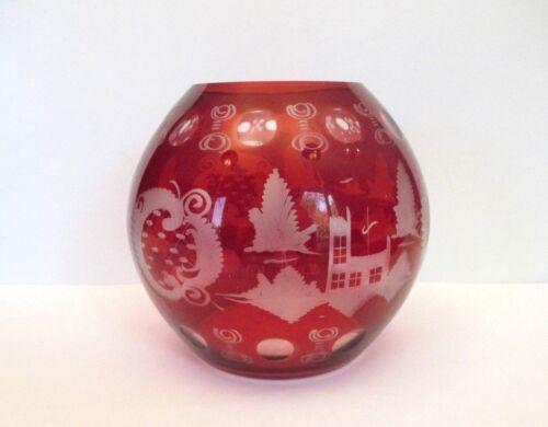 "Bohemian Ruby Round 5 3/4"" Crystal Vase, Czechoslovakia"
