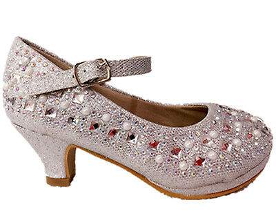 Girls Youth Kids Cute Pageant Jewel Rhine Stone Mary Jane High Heel Dress Shoes ](Kids High Heel Shoes)