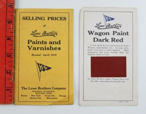 Vintage 1916 Lowe Brothers Paints an Varnishes Price List w/Sample Dayton Ohio