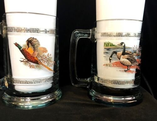 Clear Beer Mugs Game Birds Pheasant Geese 2 Princess House