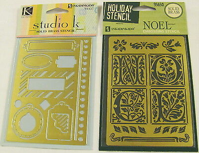 2 Solid Brass Embossing Template Stencil - NOEL, Boarder & Tags  Ships Free