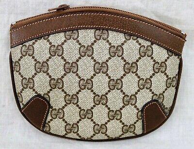 "GUCCI Br Signature ""GG""s Vintage make up zipper clutch handbag ITALY US Seller"