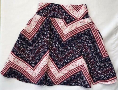 LuLaRoe Girls 4 4T Blue and Red Bandanna Chevron Print Azure Skirt