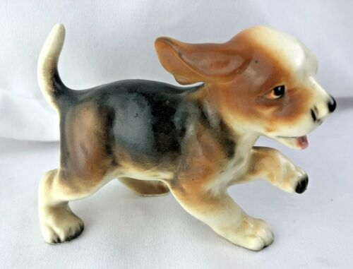Vintage Playful Puppy Dog Beagle Figurine Foil Stick gone