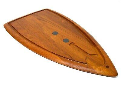 RARE DIGSMED DENMARK MID-20TH C VINT TEAK/CAST IRON SURFBOARD CUTTING BOARD #103
