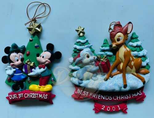 BAMBI THUMPER MICKEY MINNIE Disney Holiday Ornament Set (2) Vintage