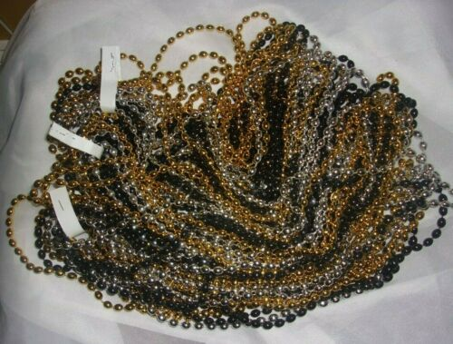 Lot of 42x Gold, Black and Silver Bead Necklaces Bulk Packs Mardi Gras Party