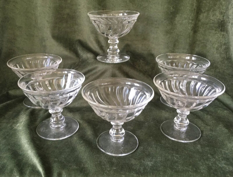 """Set Of 6 Fostoria Glass Colony 2412 Clear 5 Oz Champagne or Sherbets - 3 3/8"""""""