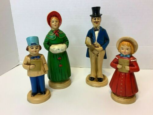 Vintage Set of 4 Victorian Family Christmas Carolers Boy Girl Figures