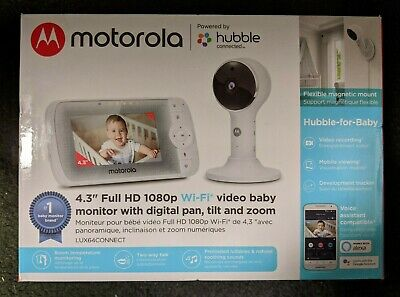 "Motorola 4.3"" Full HD WIFI Video Baby Monitor LUX64CONNECT White BRAND NEW"