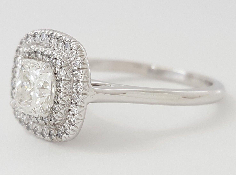 0.97 ct 18K White Gold Cushion Cut Diamond Double Halo Engagement Ring GIA E/VS1 9