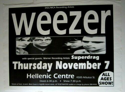 Weezer 1996 Original Concert Poster w/ Superdrag