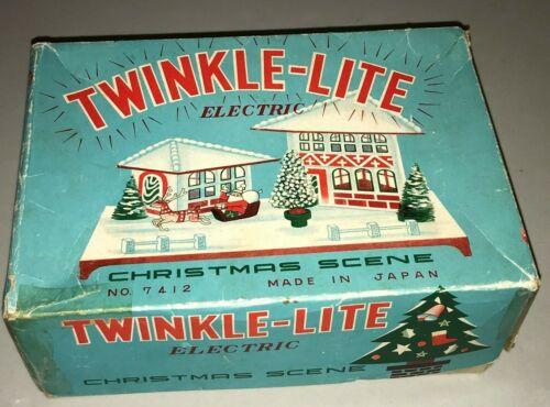 TWINKLE-LITE Electric Christmas Scene, Glass House, Santa Sleigh JAPAN Putz Mica
