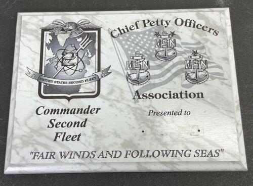 Vintage US Navy Commander 2nd Fleet Chiefs Mess Plaque