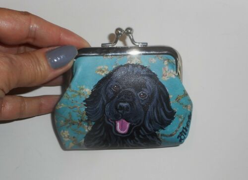Newfoundland dog Hand Painted Blue Coin Purse Clutch Mini Wallet
