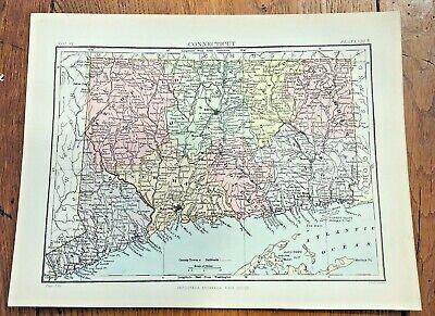 circa 1880s map of connecticut  !  ( adam & charles black )