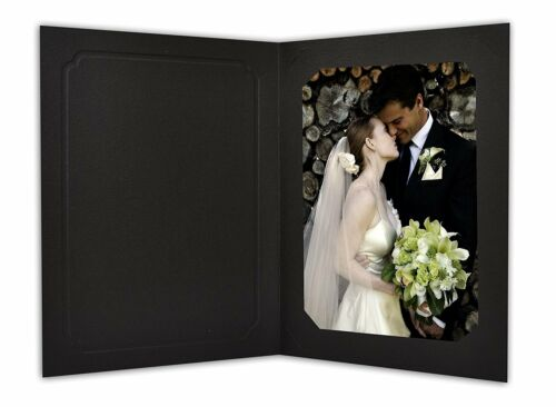 Cardboard Photo Folder for 5x7/4x6 (Pack of 50) Cut corners GS010-S Black Color