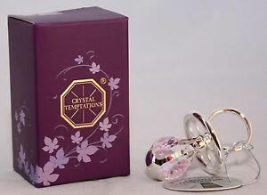 NEW SILVER PLATED PINK CRYSTAL DUMMY CHRISTENING GIFT FOR GIRLS