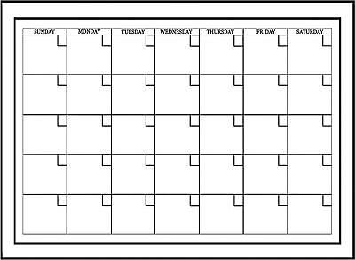 Wall White Board Monthly Calendar Planner Peel Stick Dry Erase Marker Office 24