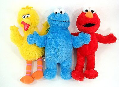 Set of 3: Brand New 15'' Sesame Street Plush Elmo Big Bird Cookie Monster Jumbo